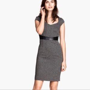 H&M tweed cap sleeve dress w faux leather belt  4